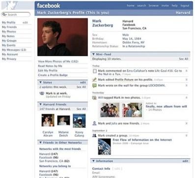Facebook nel 2006, prima del boom mondiale