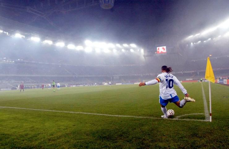Roberto Baggio nel 2002, con la maglia del Brescia. Grazia Neri/Getty Images
