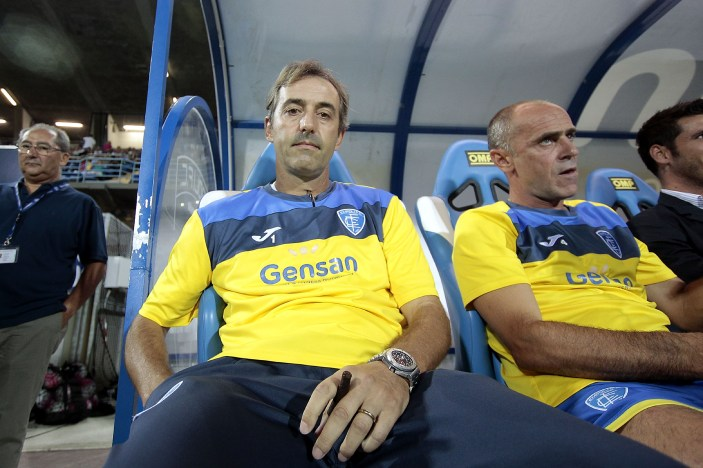 EMPOLI, ITALY - AUGUST 23: Marco Giampaolo head coach of Empoli FC looks on during the Serie A match between Empoli FC and AC Chievo Verona at Stadio Carlo Castellani on August 23, 2015 in Empoli, Italy. (Photo by Gabriele Maltinti/Getty Images)