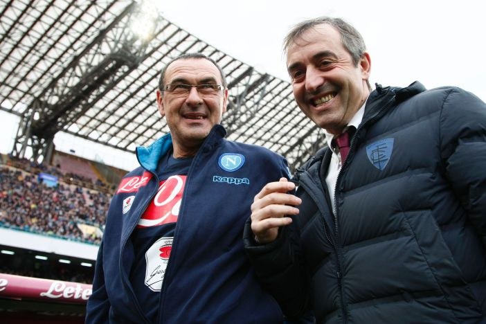 Napoli's Italian coach Maurizio Sarri (L) greets Empoli's Italian coach Marco Giampaolo before the Italian Serie A football match SSC Napoli vs Empoli FC on January 31, 2016 at the San Paolo stadium in Naples. / AFP / CARLO HERMANN (Photo credit should read CARLO HERMANN/AFP/Getty Images)