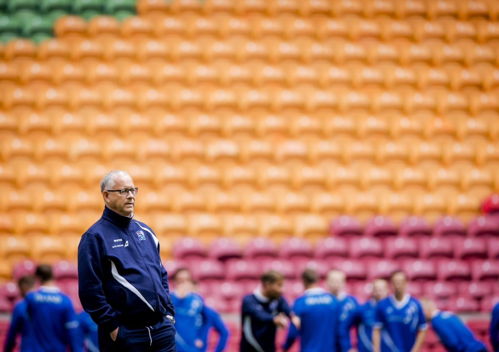 Coach Lars Lagerback of Iceland's national soccer team is pictured during a training session in the Amsterdam Arena, on September 2 2015, in preparation of the EURO 2016 qualifying football match against the Netherlands. AFP PHOTO / ANP / ROBIN VAN LONKHUIJSEN =NETHERLANDS OUT= (Photo credit should read ROBIN VAN LONKHUIJSEN/AFP/Getty Images)