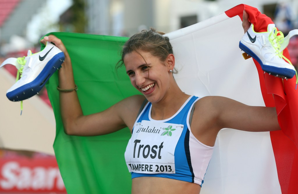 TAMPERE, FINLAND - JULY 13: Alessia Trost of Italy celebrates winning the Women'ds High Jump during day three of The European Athletics U23 Championships 2013 on July 13, 2013 in Tampere, Finland. (Photo by Ian MacNicol/Getty Images)