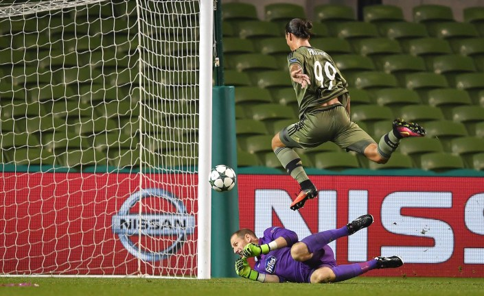 DUBLIN, IRELAND - AUGUST 17: Aleksandar Prijovic of Legia Warsaw scores during the Champions League qualifying round game between Dundalk and Legia Warsaw at Aviva Stadium on August 17, 2016 in Dublin, Ireland. (Photo by Charles McQuillan/Getty Images)