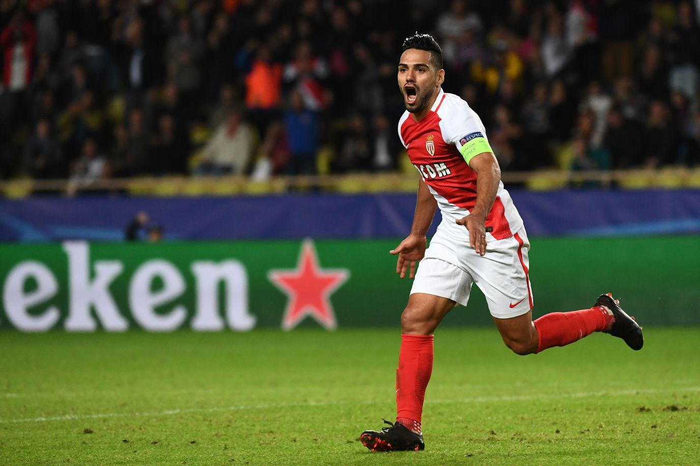 Monaco's Colombian forward Radamel Falcao celebrates after scoring a goal during the UEFA Champions League Group E football match between AS Monaco FC and PFC CSKA Moscow at the Louis II Stadium in Monaco on November 2, 2016. / AFP / ANNE-CHRISTINE POUJOULAT (Photo credit should read ANNE-CHRISTINE POUJOULAT/AFP/Getty Images)