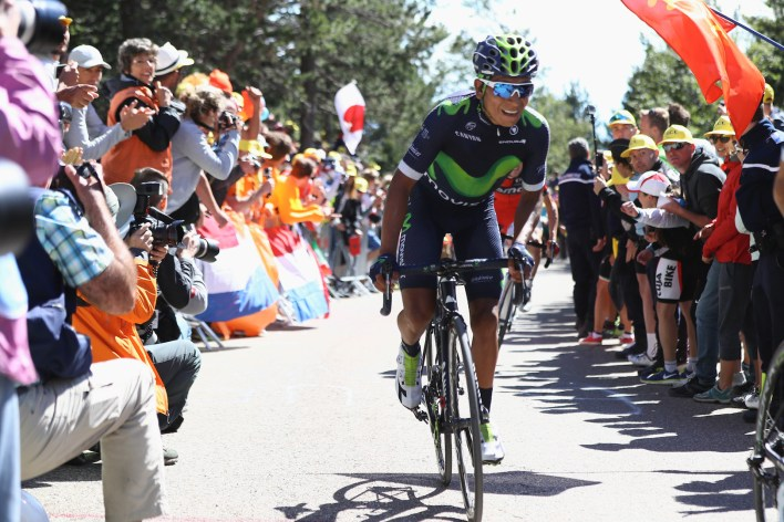 MONTPELLIER, FRANCE - JULY 14: Nairo Quintana of Colombia and Movistar during the climb to Mont Ventoux during the 12th stage of Le Tour de France from Montpellier to Mont Ventoux on July 14, 2016 in Montpellier, France. (Photo by Michael Steele/Getty Images)