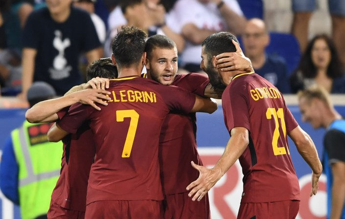 Marco Tumminello (2nd-R) of A.S. Roma celebrates his goal with teammates Lorenzo Pellegrini (#7) and Maxime Gonalons (R) during the International Champions Cup (ICC) football match between Tottenham and A.S. Roma July 25, 2017 at Red Bull Arena in Harrison, New Jersey. / AFP PHOTO / Don EMMERT (Photo credit should read DON EMMERT/AFP/Getty Images)