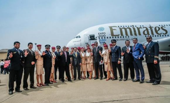 Emirates' A380 was last in India on March 12 at the air show in Hyderabad.