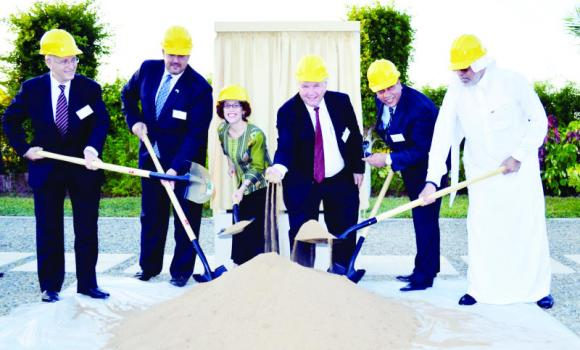 Anne Casper, the US consul general, Zuhair Fayez, chief executive officer of Zuhair Fayez Partnership architects, Monti Hallberg, superintendent of the American International School-Jeddah, and Lance Jones, president of the school's board of trustees, and other officials, at the school's groundbreaking ceremony. (AN photo)