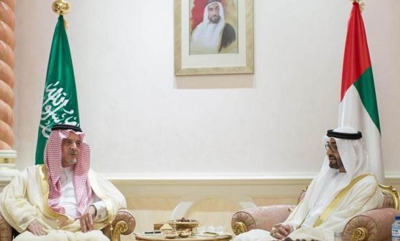 Foreign Minister Prince Saud Al-Faisal confers with Sheikh Mohamed bin Zayed Al-Nahyan, crown prince of Abu Dhabi and deputy supreme commander of UAE Armed Forces, in Abu Dhabi on Tuesday. (AN photo)