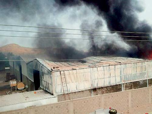 A readymade clothes warehouse on fire in Al-Ajwad district of Jeddah
