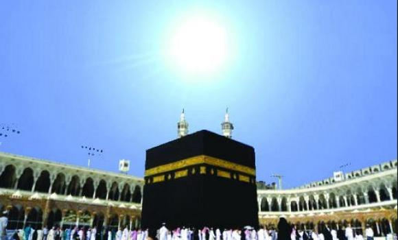 "A previous sun alignment with the Kaaba is shown in this file picture. The celestial phenomenon called ""zero-shadow"" happens twice every year. (Courtesy photo)"