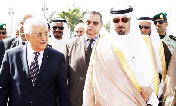 Palestine President Mahmoud Abbas arrives in Jeddah on Tuesday to attend the OIC conference. Makkah Gov. Prince Mishaal bin Abdullah was present at the airport to receive the president. (SPA)