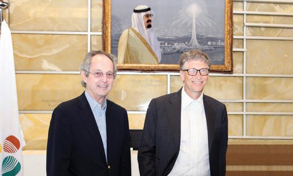 Billionaire entrepreneur Bill Gates with Jean-Lou Chameau, president of the King Abdullah University of Science and Technology, after talks with university faculty members on Tuesday.