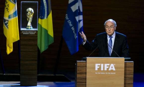 Joseph Blatter delivers a speech during the 64th FIFA congress in Sao Paulo on Wednesday.
