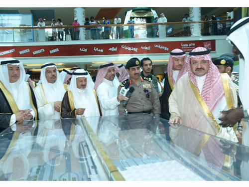 Governor Prince Mishal Bin Majed tours the Jeddah Projects Exhibition after opening it at Red Sea Mall on Tuesday.