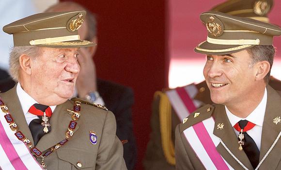 King Juan Carlos, left, and Crown Prince Felipe.