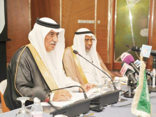 Minister of Finance Ibrahim Al-Assaf (left) addresses a joint press conference with Islamic Development Bank (IDB) Group President Dr. Ahmad Mohamed Ali in Jeddah on Monday on the eve of the IDB Group annual meeting and the 40th anniversary celebration.
