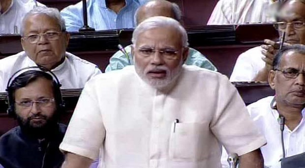 Prime Minister Narendra Modi addresses parliament in his first speech.