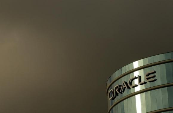 The company logo is shown at the headquarters of Oracle Corporation in Redwood City, California in this February 2, 2010 file photograph.