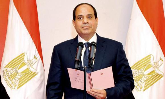 In this image released by the Middle East State News Agency, President Abdel-Fattah el-Sissi takes his oath of office at the Supreme Constitutional Court in Cairo on Sunday.