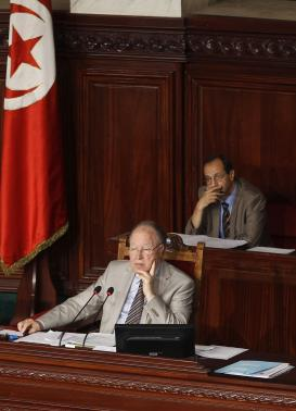 President of Tunisia's Constituent Assembly Mustafa Ben Jaafar (L) attends a meeting at the Constituent Assembly in Tunis June 25, 2014.