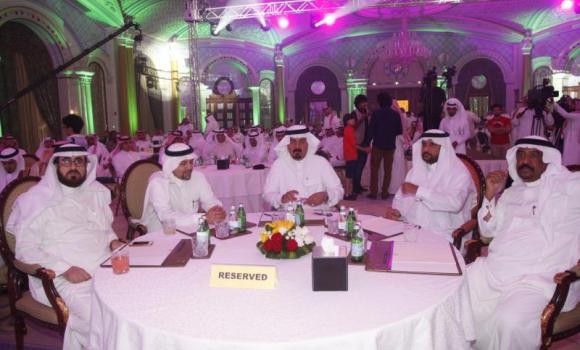 Abdul Rahman Al-Hazza, president of the Saudi Broadcasting Corporation, center, announced several new programs at an event in Riyadh on Sunday.