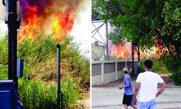 A combo picture showing blaze spread over a 6,000 square meters in Qatif.