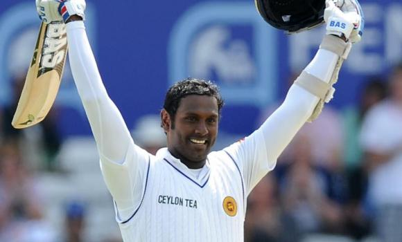 Sri Lanka's Angelo Mathews celebrates a century during day four of the Second Test Match between England and Sri Lanka at Headingley cricket ground, Leeds, England, on Monday.