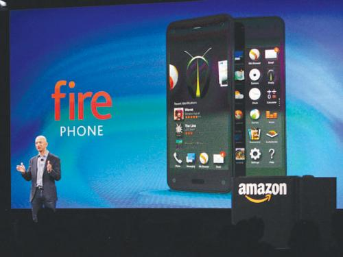 Amazon CEO Jeff Bezos talks about his company's new 'Fire' smartphone at a news conference in Seattle, Washington on Wednesday, hoping that the new smartphone will stand our in a crowded field dominated by Apple Inc. and Samsung Electronics.