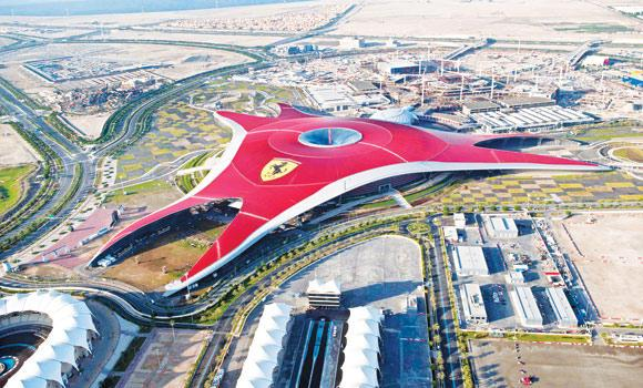 An aerial shot of Ferrari World Abu Dhabi