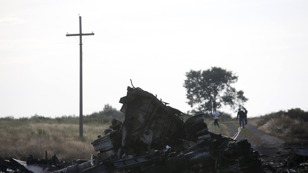 Wreckage is pictured at the crash site of Malaysia Airlines Flight MH17, near the settlement of Grabovo in the Donetsk region.