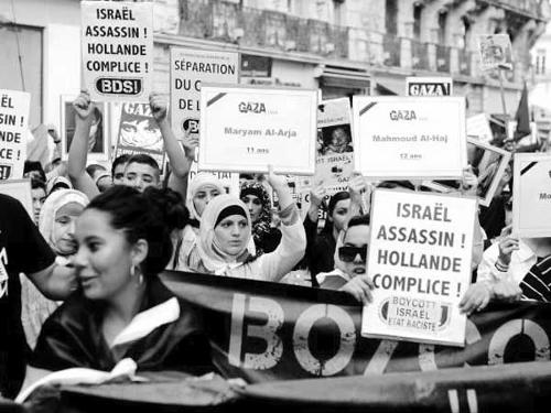 Israeli brutality in Gaza, where over 800 innocent Palestinians — including women and children — have been killed, has pricked the conscience of all peace-loving people around the world.  Picture above shows demonstations being held in France.