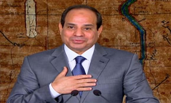 Egyptian President Abdel-Fattah el-Sissi speaks in a nationally televised broadcast in Cairo on Monday.