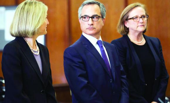 Georges Dirani, general counsel for BNP Paribas, appears with his lawyers Karen Patton Seymour and Elizabeth Davy in New York state court.