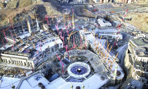 An aerial view of the Grand Mosque which is undergoing massive expansion.