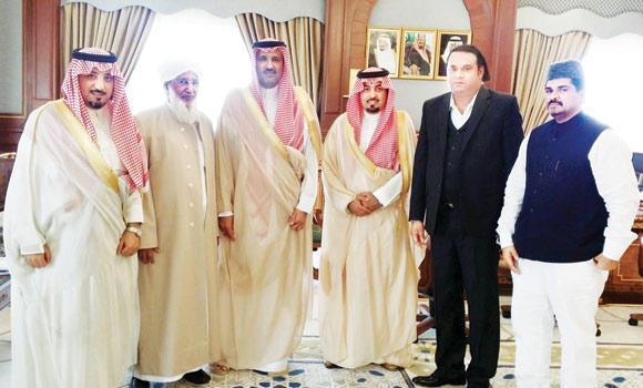 Madinah Gov. Prince Faisal bin Salman with A.P. Abubacker Musliyar, second left, Gammon Group Chairman Sheikh Mohammed Rafik, second right, Bashirali Shihab Thangal, right, during the reception.