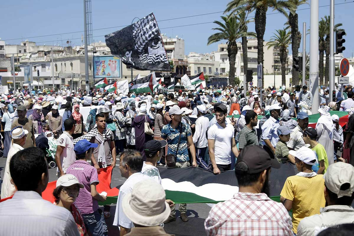 Moroccans stage a demonstration to protest the ongoing Israeli attacks, killed 425 and wounded 3008 others, in Rabat capital of Morocco on July 20, 2014.