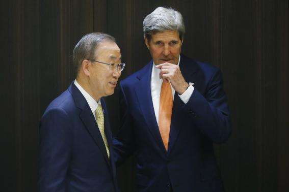 U.S. Secretary of State John Kerry (R) meets with U.N. Secretary-General Ban Ki-moon in Jerusalem July 23, 2014. Kerry said on Wednesday some progress had been made in efforts to bring an end to 16 days of fighting between Israel and the Islamist group Hamas.