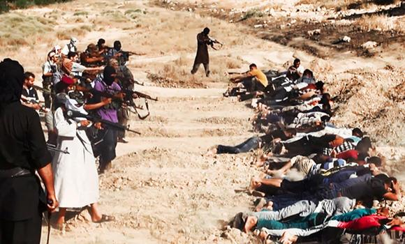 This file image posted on a website of the Al-Qaeda-inspired Islamic State (IS) on June 14, 2014, shows the group's jihadists executing captured Iraqi soldiers in Tikrit, Iraq. Saudi youths have been warned against gravitating toward terror groups like the IS, which had been condemned even by other Islamist groups as too extreme.