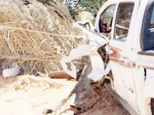 The car involved in the fatal crash in Al-Jouf.
