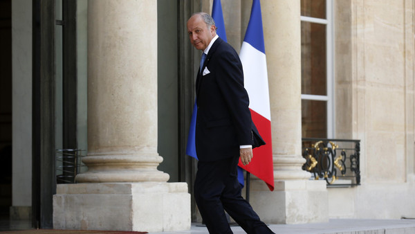 French Foreign Affairs Minister Laurent Fabius arrives to attend a meeting at the Elysee Palace in Paris July 24, 2014.