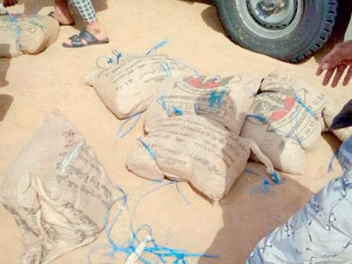 Hashish blocks seized by Border Guard patrols at Al-Tuwal, Jazan.