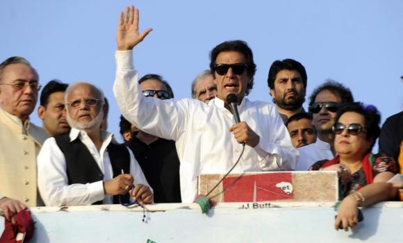 Imran Khan speaks to supporters during an anti-government protest in Islamabad.
