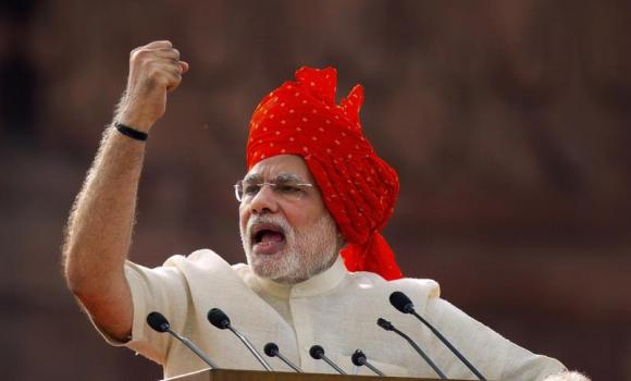 Indian Prime Minister Narendra Modi addresses the nation on the country's Independence Day in New Dehi.