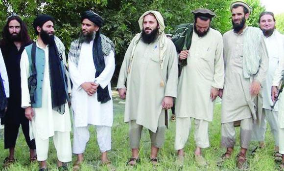 Members of the new Pakistani militant outfit pose after their meeting.