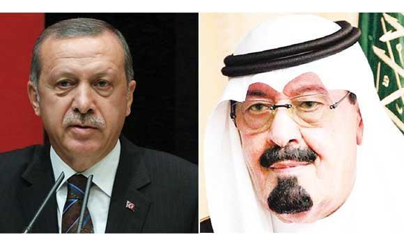 Recep Tayyip Erdogan (L) and King Abdullah