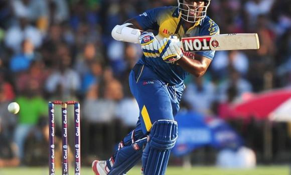 Sri Lankan batsman Thisara Perera plays a shot during the second One Day International (ODI) match between Sri Lanka and Pakistan at the Suriyawewa Mahinda Rajapakse International Cricket Stadium in the southern district of Hambantota on Tuesday.