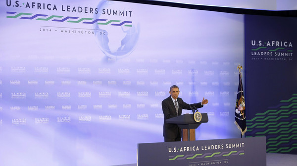 U.S. President Barack Obama speaks at a news conference at the close of the U.S.-Africa Leaders Summit at the U.S. State Department in Washington August 6, 2014.