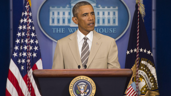 U.S. President Barack Obama speaks in the Brady Press Briefing Room at the White House in Washington, DC, Aug. 28, 2014.