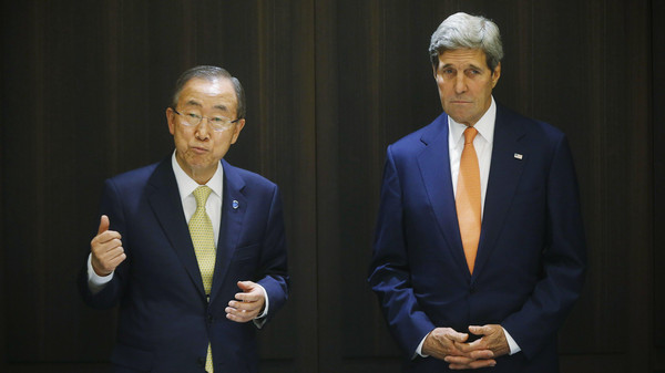 U.S. Secretary of State John Kerry (R) meets with U.N. Secretary-General Ban Ki-moon in Jerusalem.